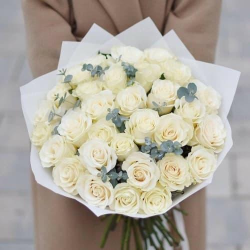 """Букет из белых роз """"Джанет"""""""