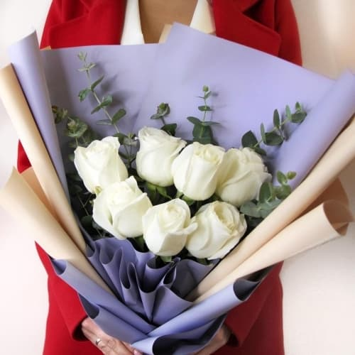 """Букет из белых роз """"Рокси"""""""