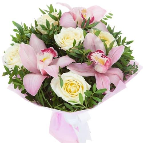 """Букет из розы и орхидеи """"Гвинея"""""""