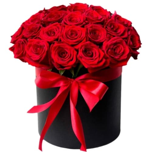 """35 красных роз в черном цилиндре """"Сладкая дрожь"""""""