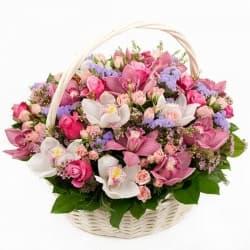 """Корзина с орхидеями и розами """"Невероятный"""""""